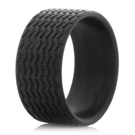 Vintage Racer Tread -Carbon Fiber Ring
