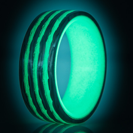 Bright Stripe Carbon Fiber Glow Ring- Saturn