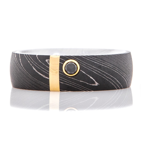 Men's Acid Finish Damascus Ring with Black Diamond and Rose Gold Inlay