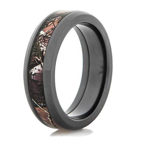 Men's Beveled Edge Black Zirconium Camo Ring