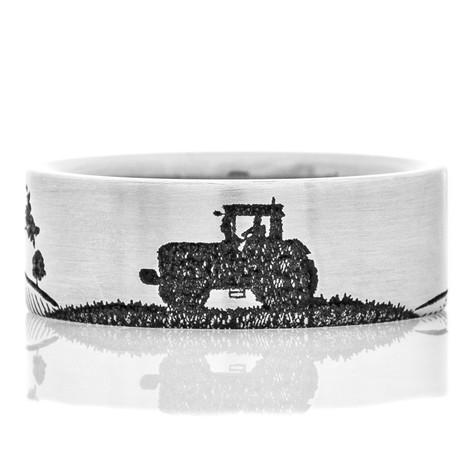 Men's Titanium Laser-Carved Farmer Tractor Scene Ring