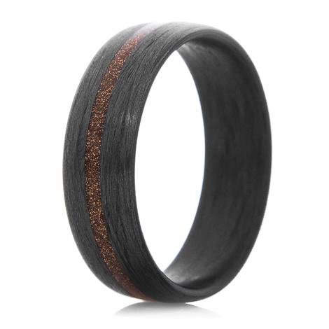 Men's Satin Carbon Fiber Ring with Bronze Inlay