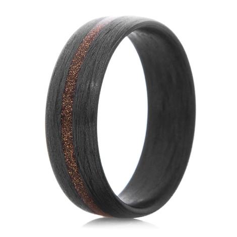 Men's Satin Carbon Fiber Ring with Bronze Inlay