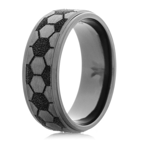 Men's Satin Finish Black Zirconium Soccer Ring with Flat Grooved Edges