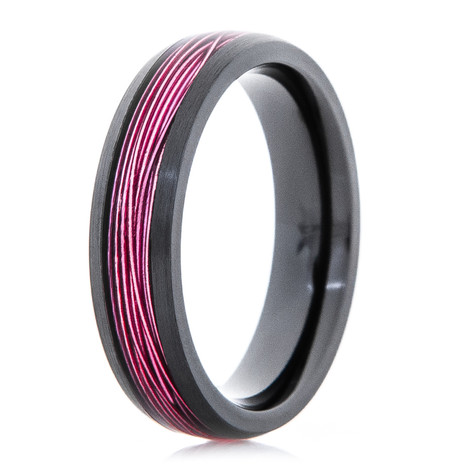 Women's Black Zirconium Ring with Pink Fishing Wire Inlay