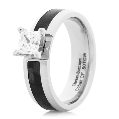 Women's Cobalt and Carbon Fiber Engagement Ring with Princess Cut Stone