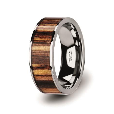 Men's Flat Tungsten Carbide Ring with Genuine Zebra Wood Inlay