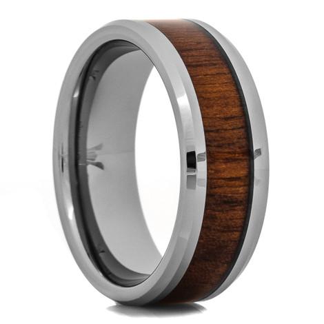 Men's Tungsten Wedding Band with Black Walnut Wood Inlay