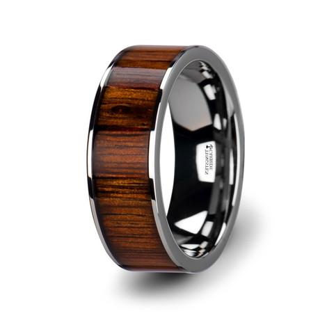 Men's Flat Tungsten Carbide Wedding Band with Rare Koa Wood Inlay