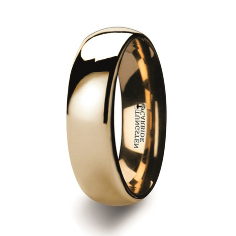 Men's Dome Gold Plated Tungsten Wedding Ring