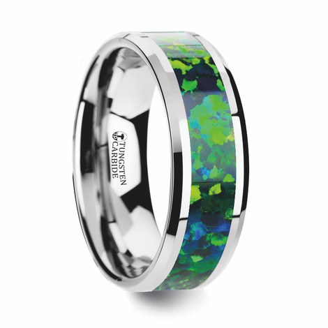 Men's Tungsten Wedding Band with Green/Blue Opal Inlay