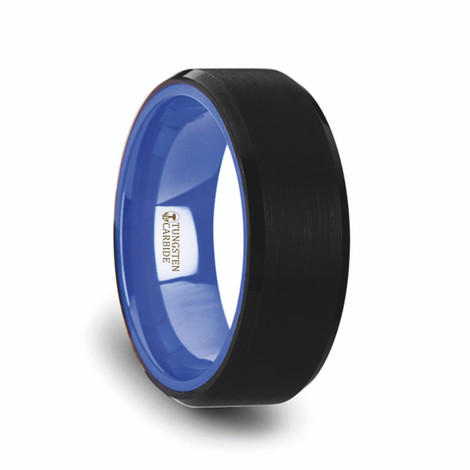 Men's Flat Black Tungsten Ring with Brushed Finish and Beveled Edges