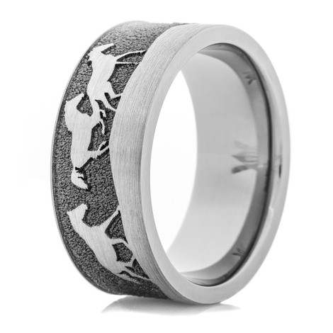 Titanium Horse Scene Ring with Flat Edges and Satin Finish