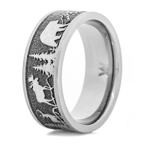 Men's Big Game Mountaineer Titanium Ring with Flat Edges
