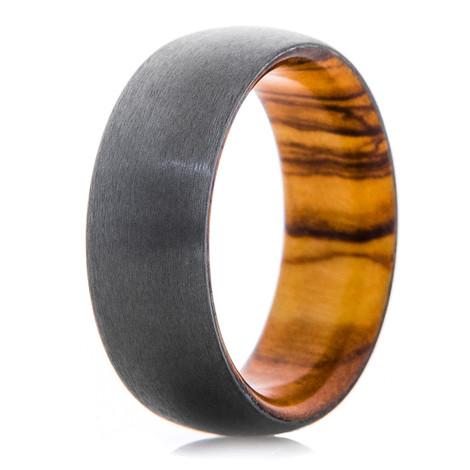 Men's Satin Finish Black Zirconium Ring with Olive Wood Sleeve