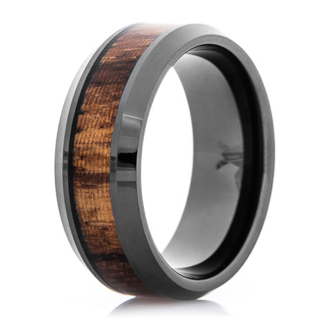 Men's Polished Black Zirconium Ring with Zebra Wood Inlay