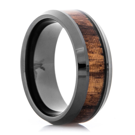 Men's Polished Black Zirconium Ring with Zebra Wood Inlay