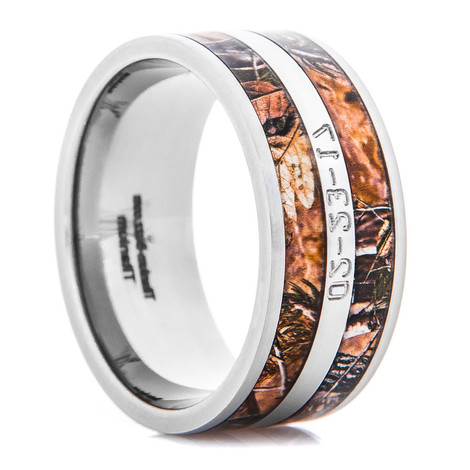 Men's Titanium Realtree® AP Camo Ring with Exterior Engraved Date
