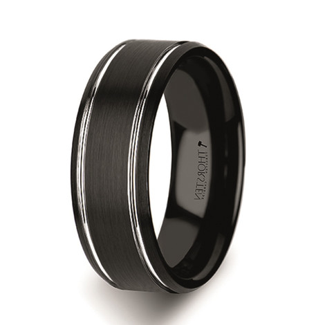 Men's Beveled Edge Black Tungsten Carbide Ring with Brushed Finish