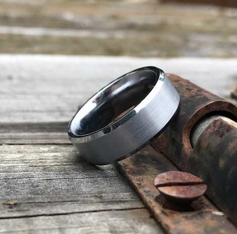 Men's White Tungsten Carbide Ring with Beveled Edges and Brushed Finish