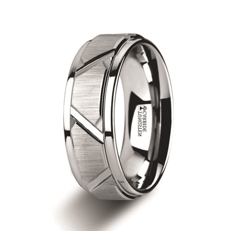 Men's Tungsten Ring with Angled Grooves and Raised Center