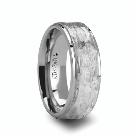 Men's Hammered White Tungsten Ring