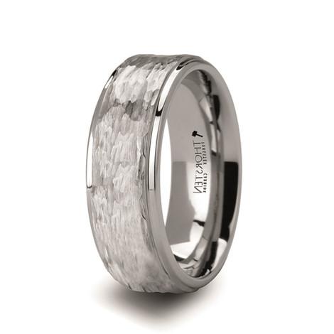 Men's Hammered White Tungsten Ring