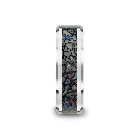 Blue Dinosaur Bone Inlaid Tungsten Carbide Ring with Beveled Edges