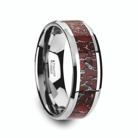 Red Dinosaur Bone Inlaid Tungsten Carbide Ring with Beveled Edges