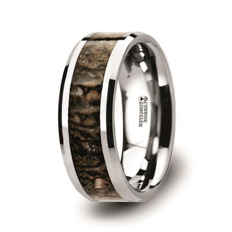 Dinosaur Bone Inlaid Tungsten Carbide Ring with Beveled Edges