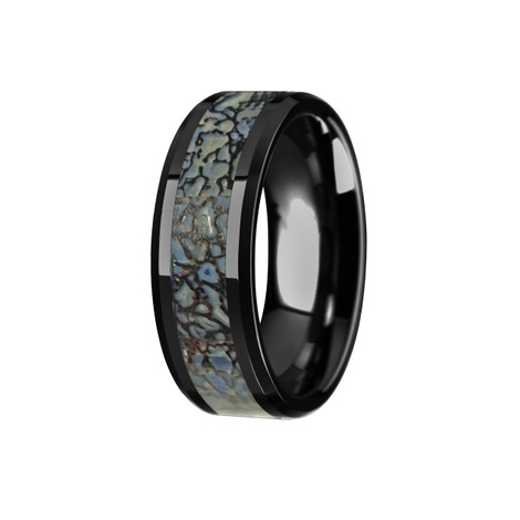 Blue Dinosaur Bone Inlaid Black Ceramic Ring with Beveled Edges
