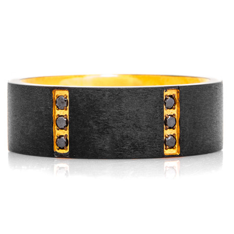 Men's Flat Brushed Black Tungsten Ring with Gold Plating and Triple Black Diamond Setting