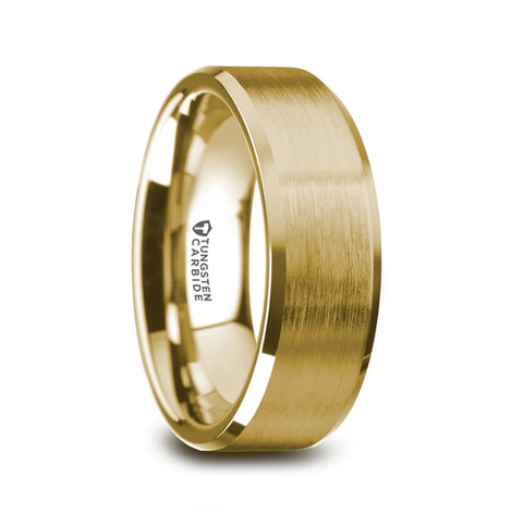Men's Flat Gold Plated Tungsten Ring with Brushed Center and Polished Beveled Edges