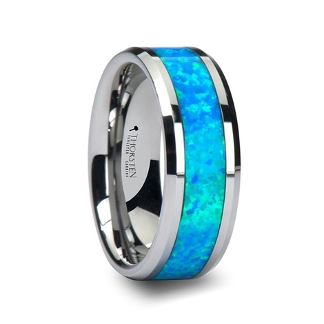 Men's Tungsten Wedding Band with Blue Green Opal Inlay