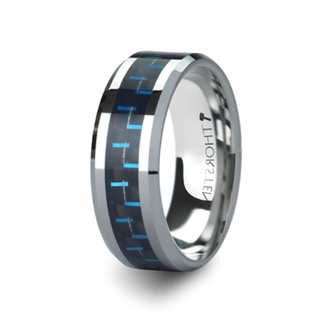 Men's Black and Blue Carbon Fiber Inlay Tungsten Carbide Ring