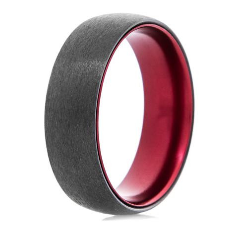 Men's Black Zirconium Ring with Anodized Crimson Interior and Dome Profile