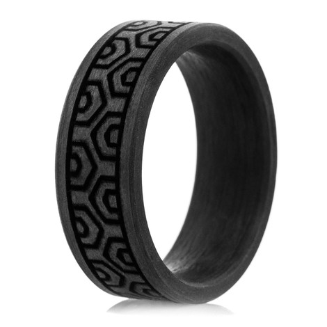 Men's Solid Carbon Fiber Winding Hexagon Ring