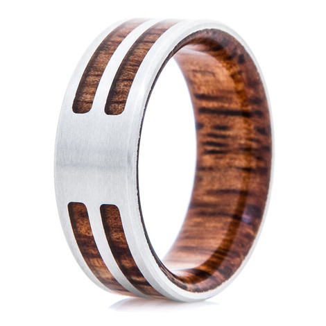 Men's Cobalt Chrome Ring with Dual Koa Wood Inlay and Interior