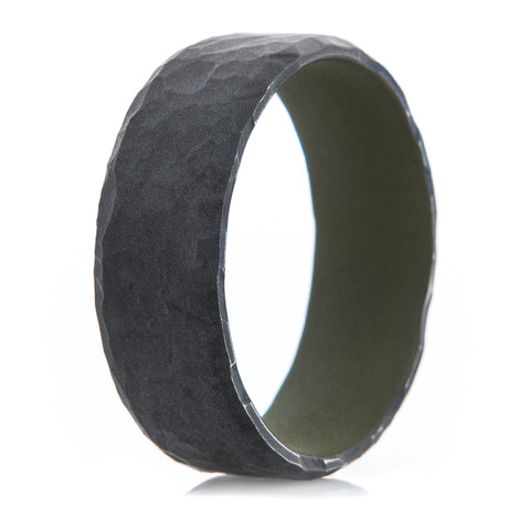 Men's Rock Hammered Black Zirconium Ring with Bazooka Green Interior