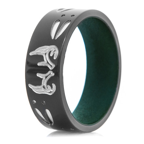 Men's Black Zirconium Deer Track and Antler Ring with Eastern Green Interior