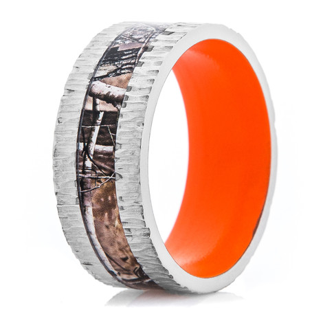 Men's Titanium Tree Bark Camo Ring with Hunter Orange Interior