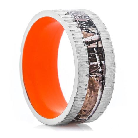 Men's Titanium Tree Bark Camo Ring with Hunter Orange Interior
