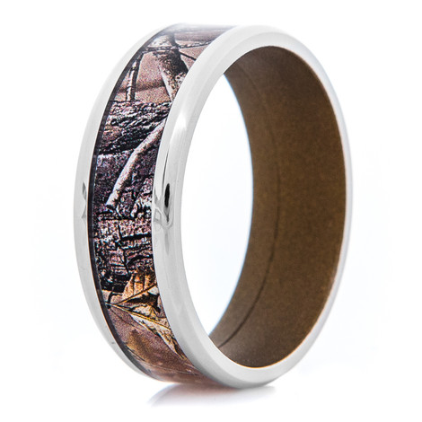 Men's Titanium Realtree® AP Camo Ring with Burnt Bronze Interior