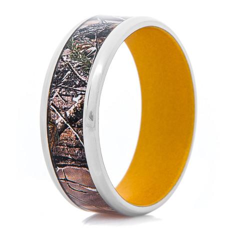Men's Titanium Realtree® AP Camo Ring with Gold Interior