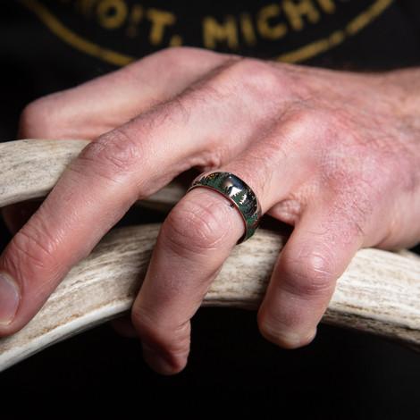 Men's Titanium Evergreen Tree Line Ring