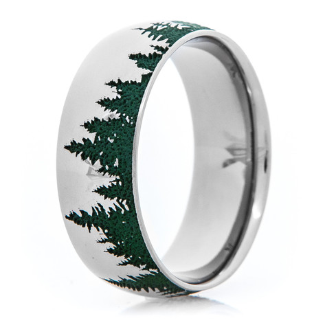 Men's Titanium Evergreen Tree Line Ring