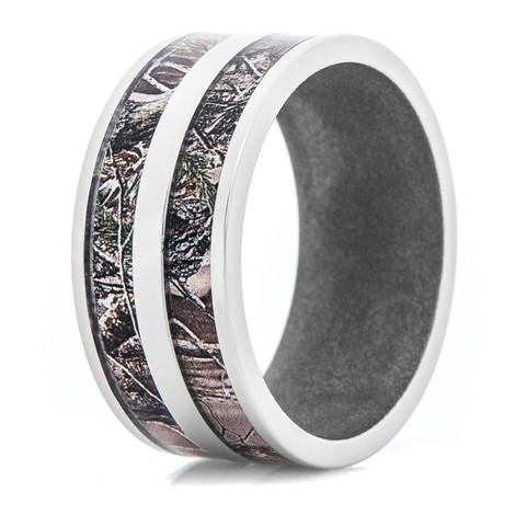 Men's Titanium Realtree® AP Double Barrel Camo Ring with Gun Metal Interior