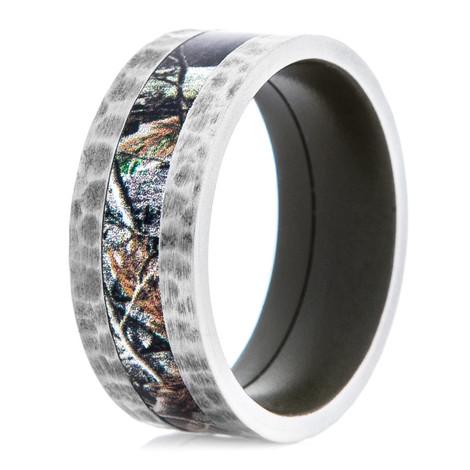 Men's Titanium Hammered Camo Ring with Green Interior