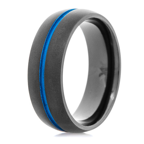 Men's Charcoal Grey Band with Sea Blue Center Groove
