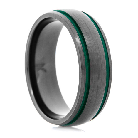 Men's Black Zirconium Ring with Dual Green Grooves